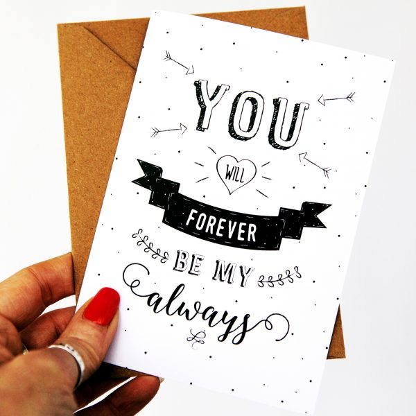 There is a lovely range over at Proper Post set up by clever mama Rebecca. How gorgeous is this hand-lettered monochrome beauty? Use code: MAMAHOOD to get 10% off -and while you are there check out her three different valentine gift wraps that are free to download!