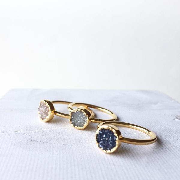 Gorgeous Circle Drusy Stacking Rings from Decadorn the wonderful jewellery shop created by talented mama Helen Bailey. Check out her beautiful range - i adore her necklaces too. Use code MAMAHOOD for 10% off.