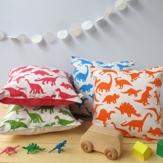 CALLING DINO LOVERS! How cute are these cushions made by talented screen printer and mama  Helen Rawlinson ? Bold and bright, perfect for a little one's room.