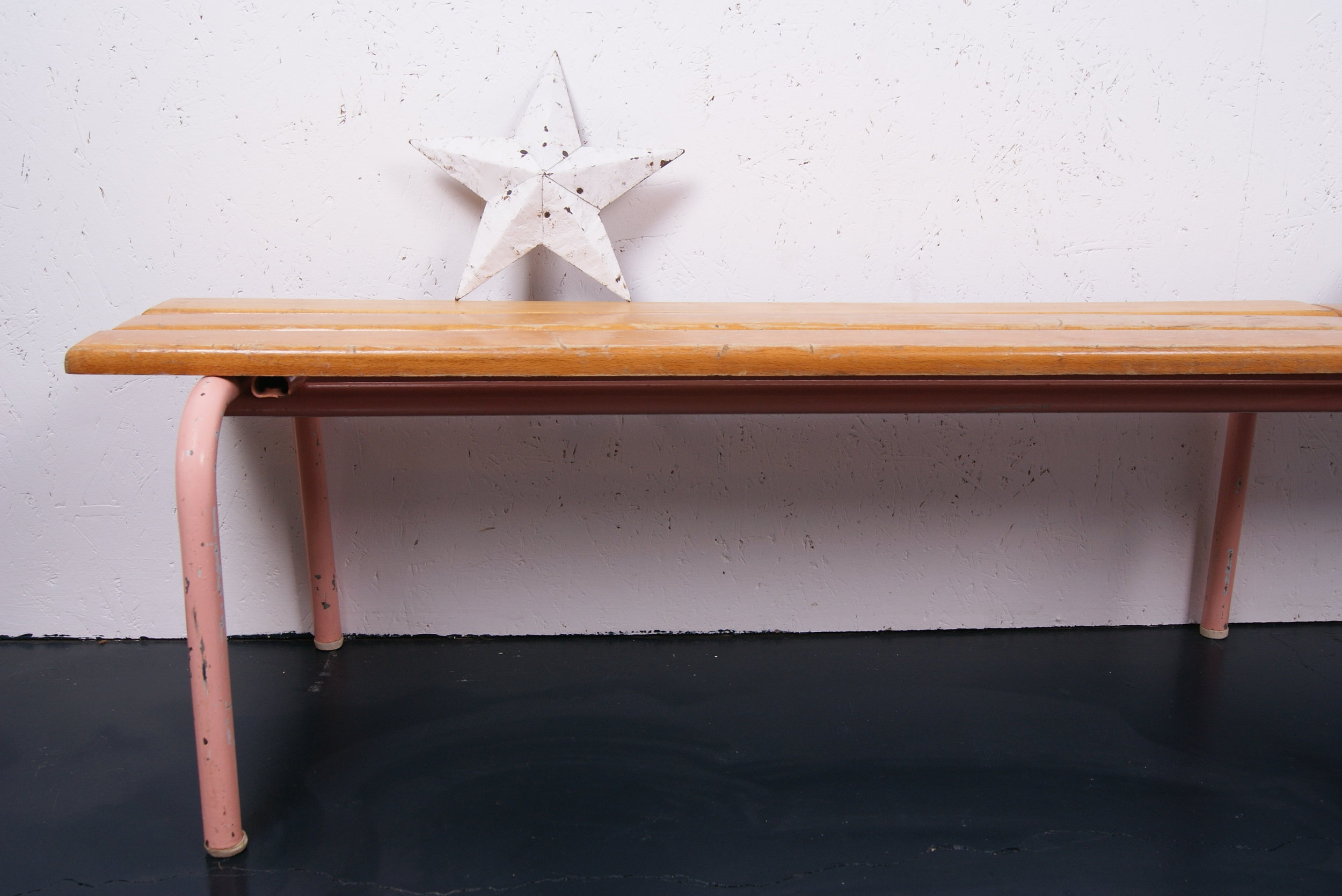 BLUE TICKING - I love to mix a bit of vintage with new pieces in Tabitha and Marlow's rooms - they both have old school desks. I love the pink legs of this bench.Use code MAMA15 for 15% off