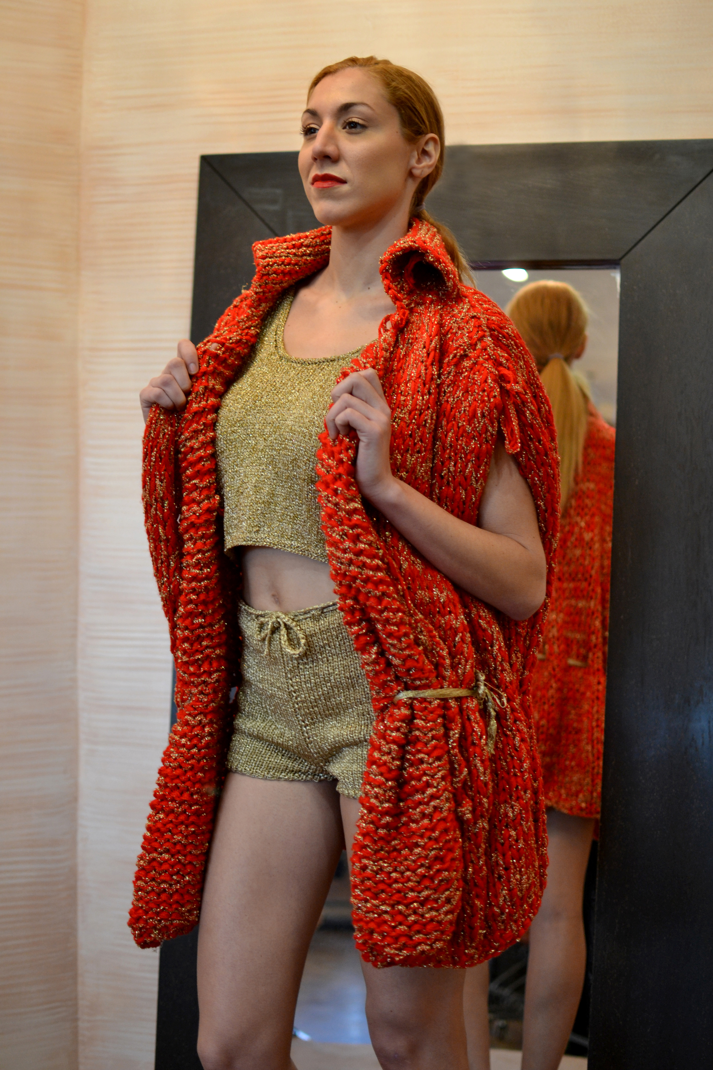 LOOK 11  •  crimson/gold cocoon knitted vest  •  gold metallic knitted cropped top  •  gold metallic knitted cropped shorts