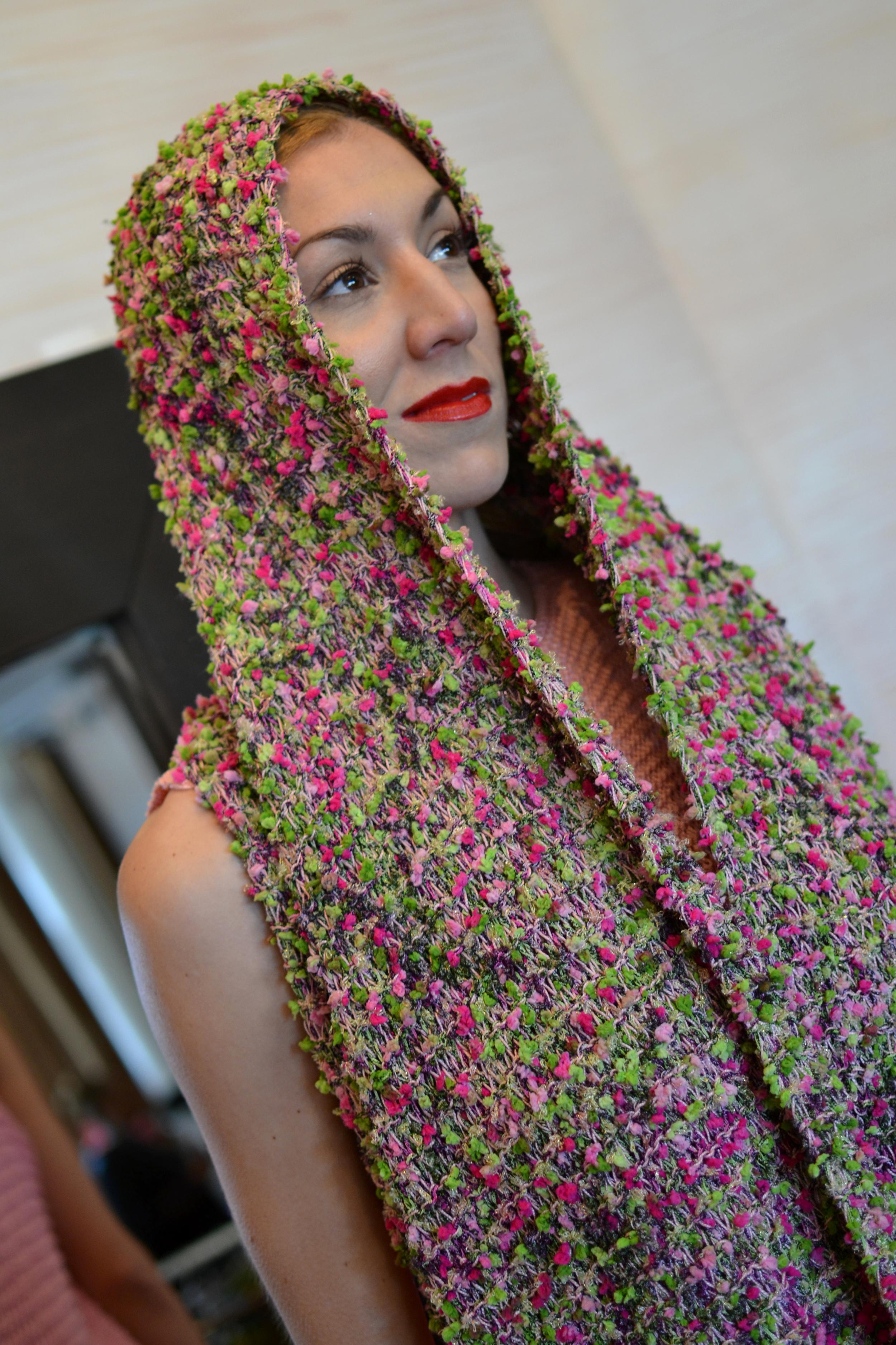 LOOK 6 • garden/carnation knitted long vest• rosé knitted sleeveless dress