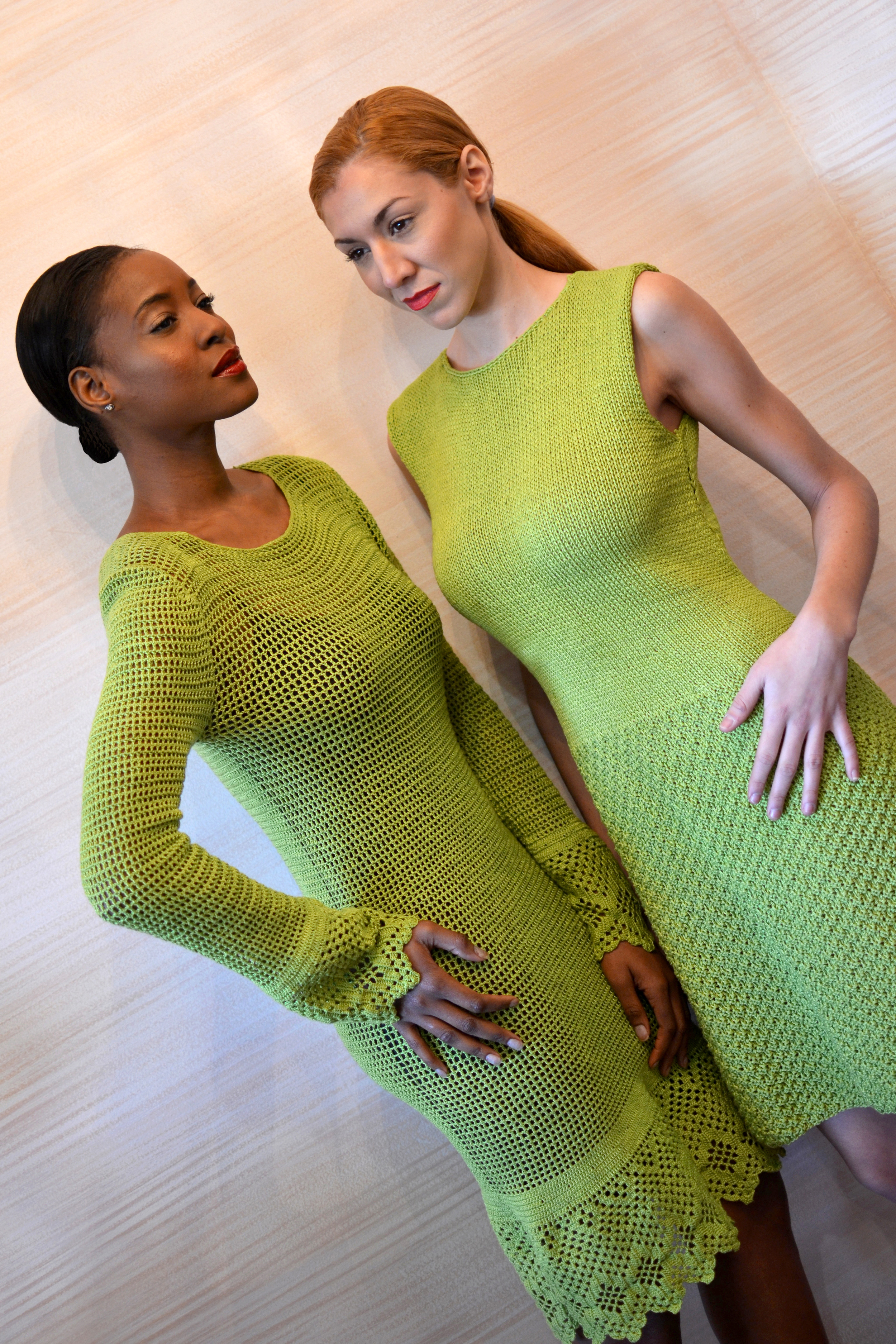 LOOK 3  •  lime long sleeve crocheted dress   LOOK 2 •  lime sleeveless knitted dress