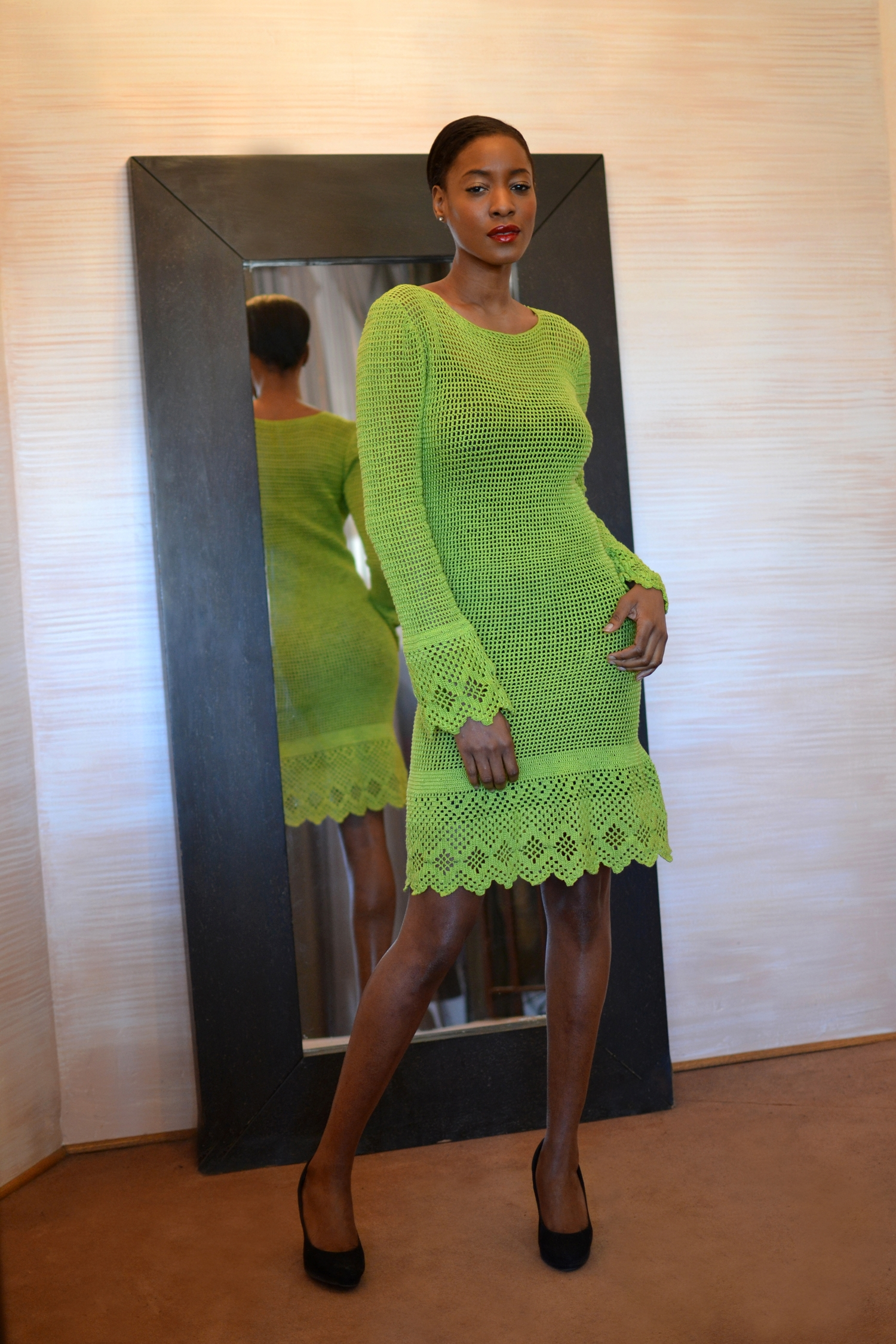 LOOK 3  •  lime long sleeve crocheted dress