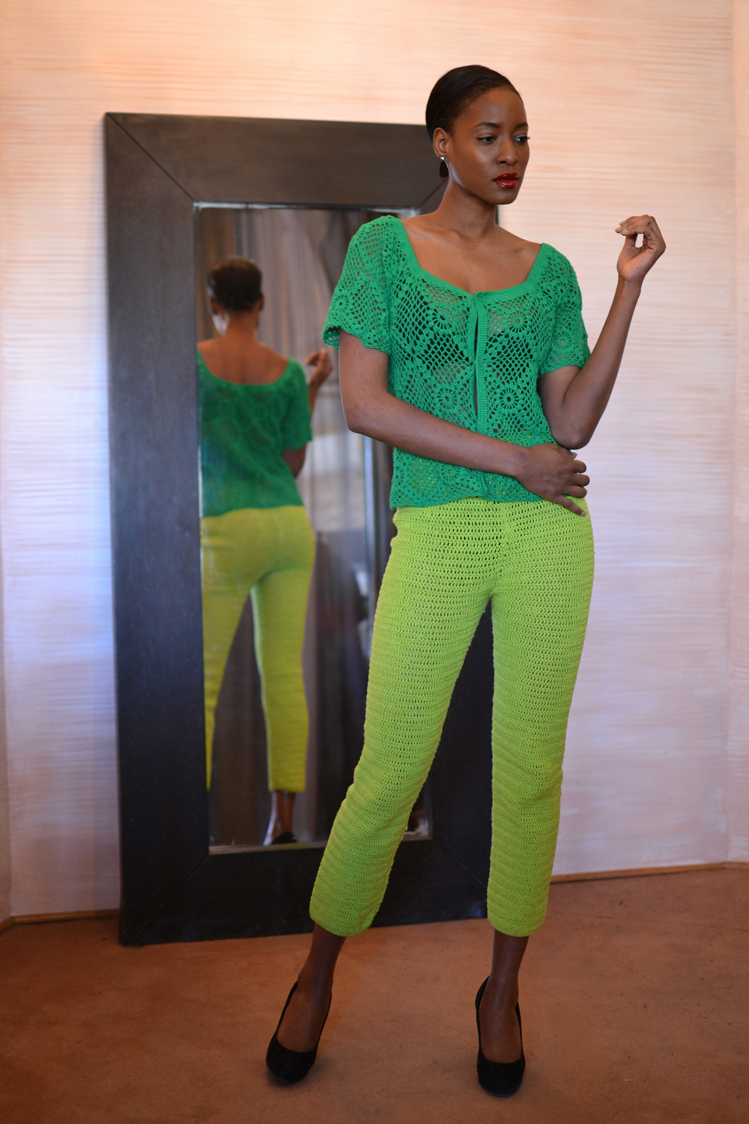 LOOK 4  •  emerald blouse  •  ime cigarette pant