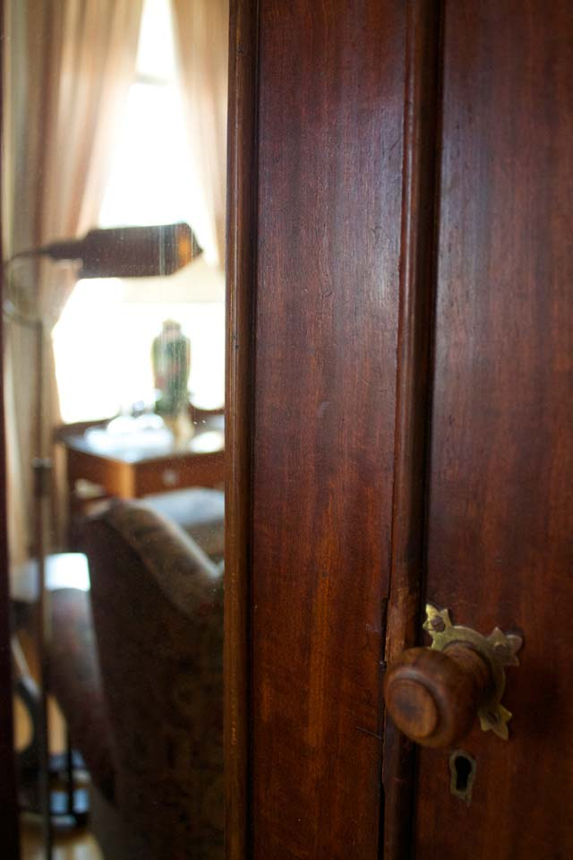 Close-up of antique armoir in guest room 4 of Willard St Inn, VT.