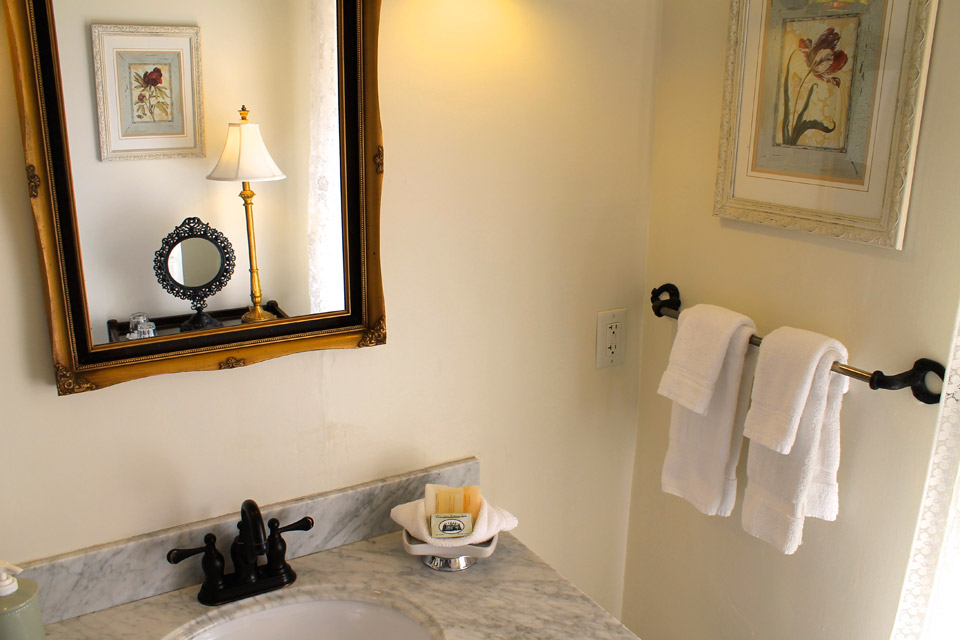 Marble Sink vanity of room 8 at the Willard Street iNN in Burlington, Vermont.