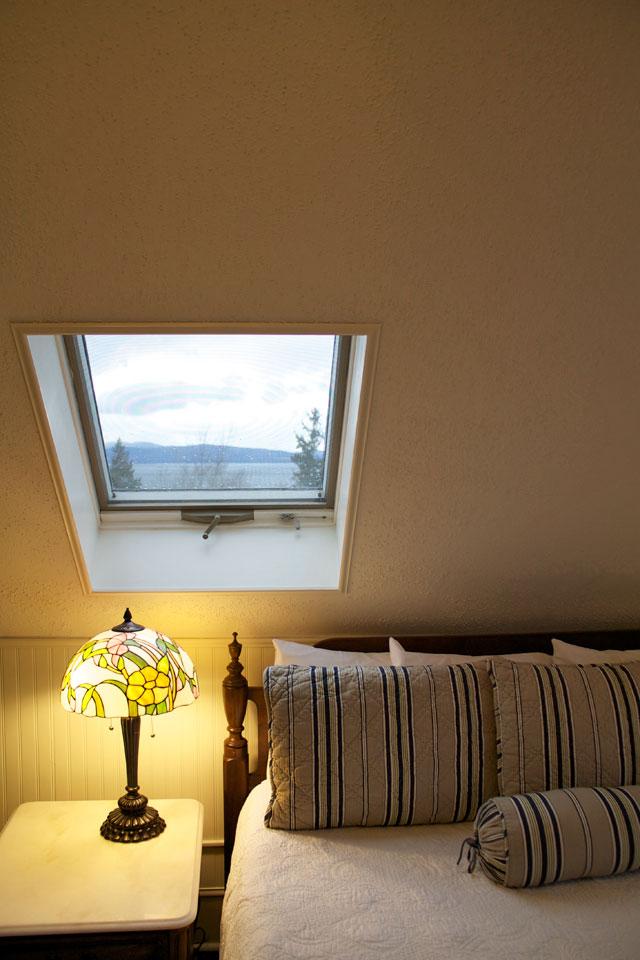 Views of Lake Champlain and Adirondacks From a skylight in Room 10 at Burlington, Vermont's Willard Street Inn