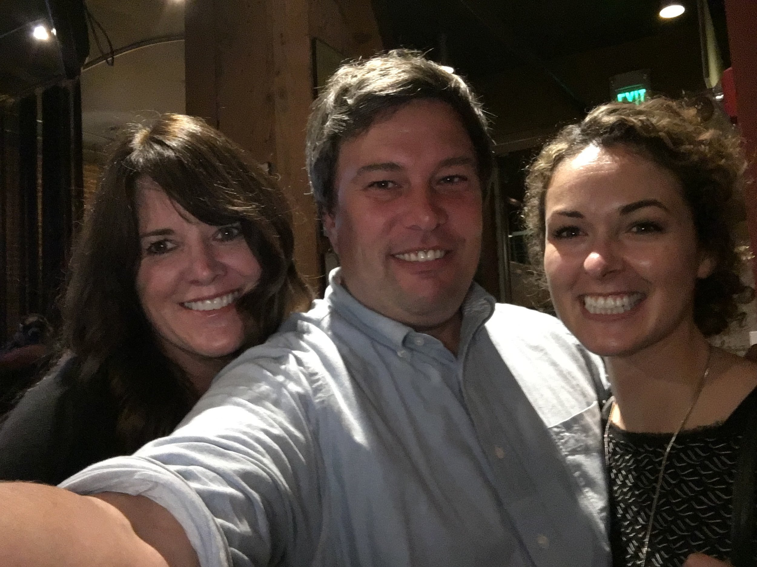 Stacy from Wink (L), Robert (that's me!) from Higher Ground, and Kristi from Kiva Confections, pose for a post-event selfie.