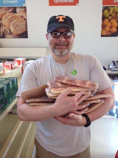 Happy dad with bacon