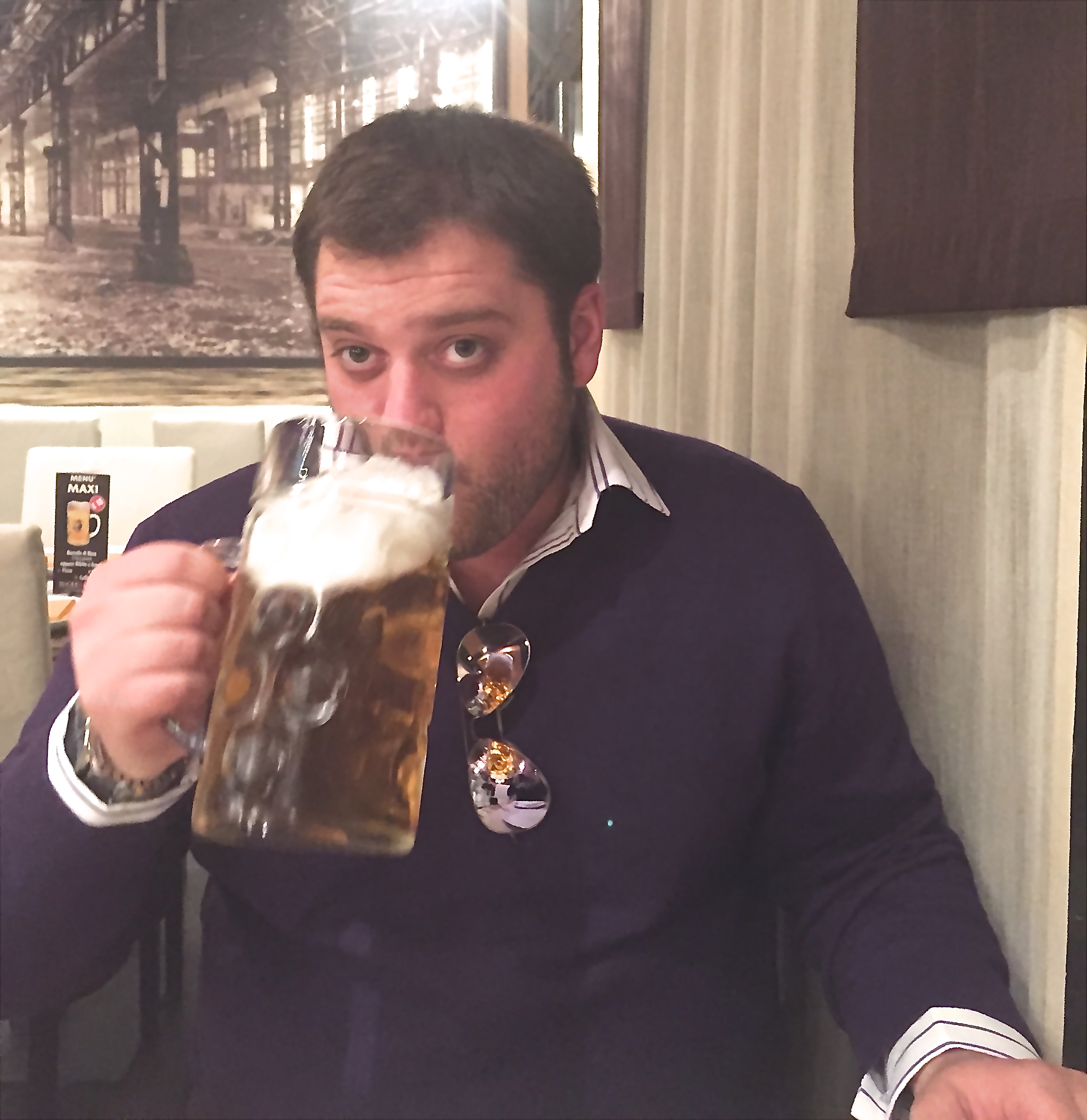 Someone get this man a beer... a giant beer. Chris took me to an all you can eat Italian pizza restaurant, and talked about wanting to take my brother and cousin there... start stretching your stomachs now guys.