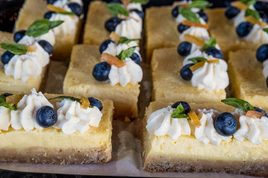 Lemon Bars with Citrus White Chocolate Mousse and Blueberries