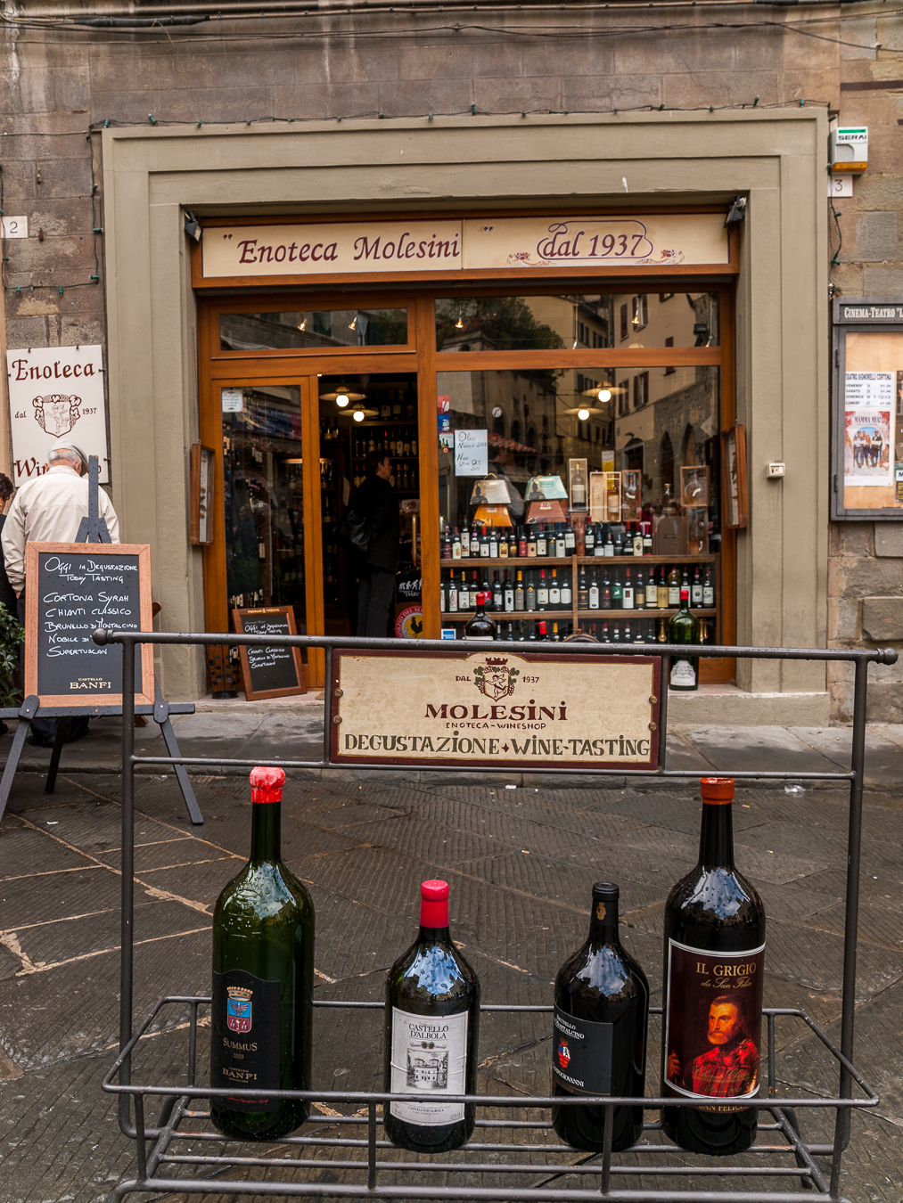 Brunellos on display in Montalcino.