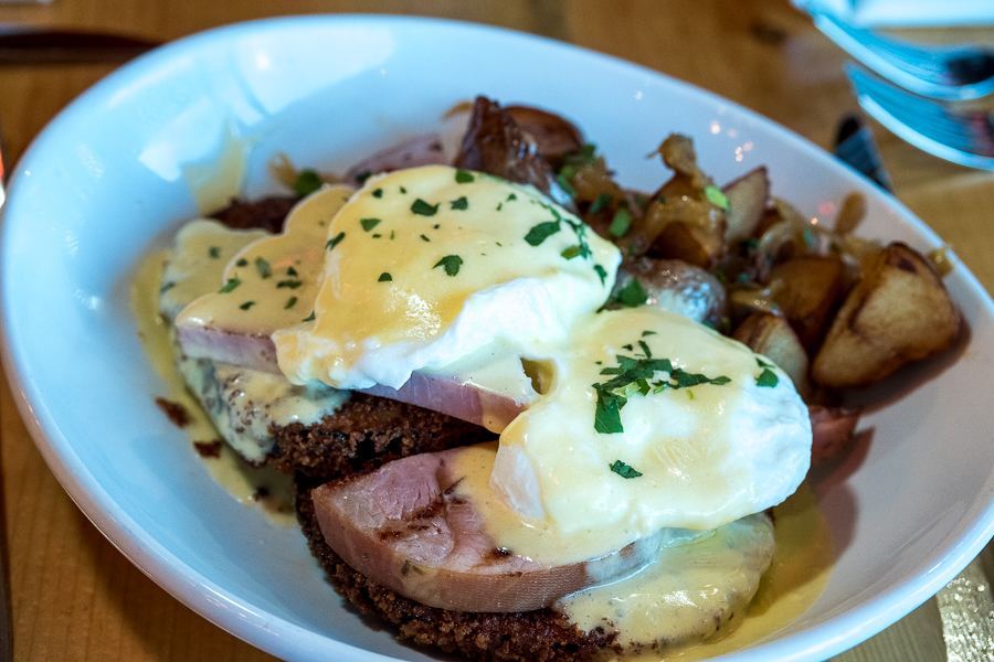 Eggs Benedict Cotto - Poached Eggs, Grilled Italian Ham, House Hollandaise Sauce, Crispy Parmesan Crusted Eggplant, Breakfast Potatoes