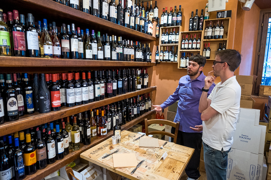 Decisions, Decisions. The selection in Enoteca Tognoni in the Bolgheri district of Tuscany is daunting.