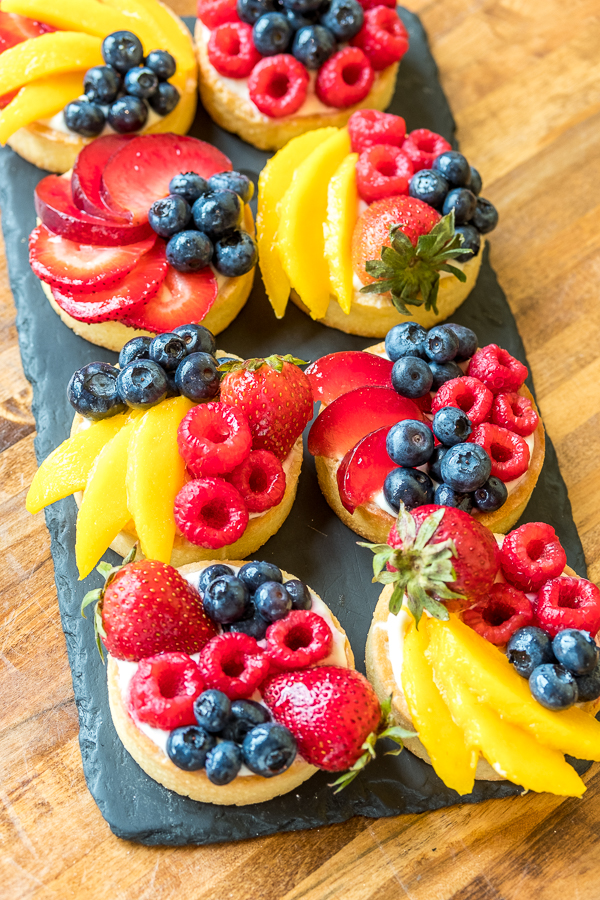 Fresh Fruit tarts, Almond Sable Crust with Citrus White Chocolate Mousse