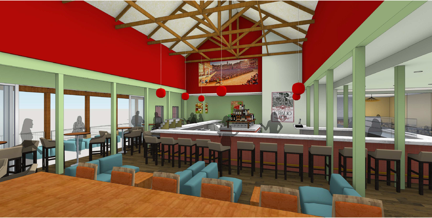 The new bar area will have sliding glass doors that will open to a new patio.