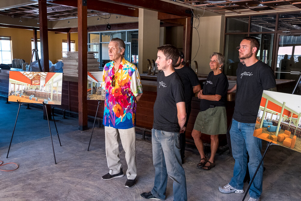 (L-R) Founder Jeff Spiegel, Founding Managing Partner John Haas, Founder Katie Gardner and Managing Partner Austin Leard speak to local press at the new M'tucci's Twenty-Five location.