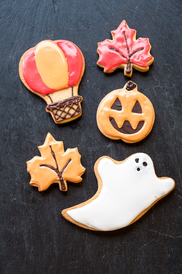Fall, balloon, and halloween cookies coming in October.