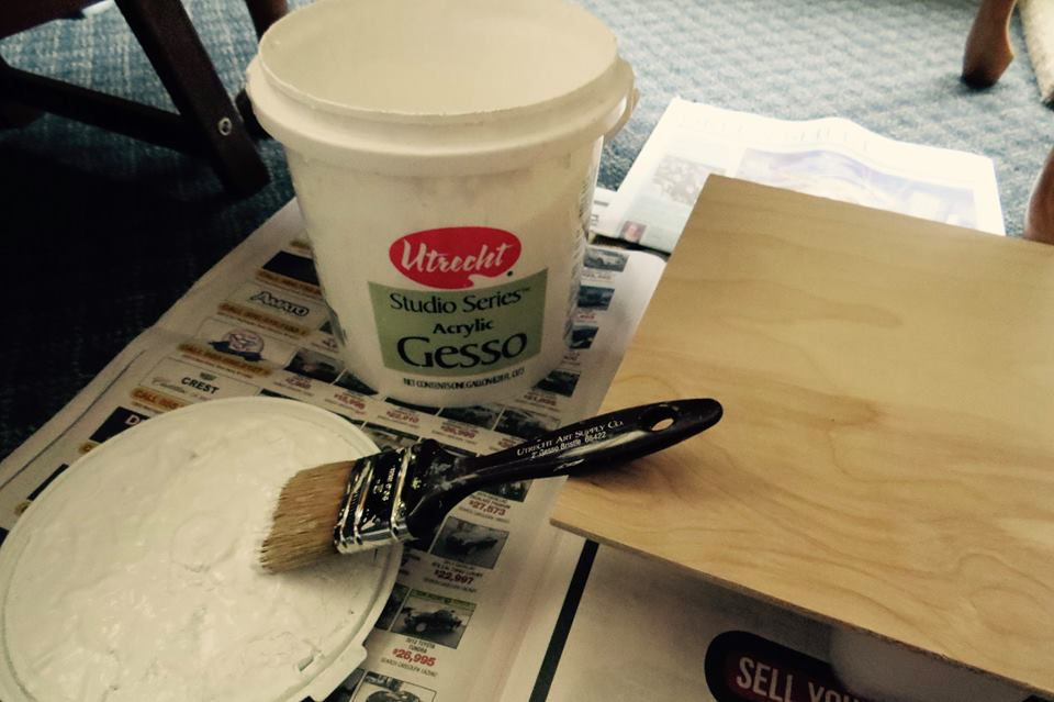 I use gesso to cover the surface of my painting first so that the colors will not soak into the wood.