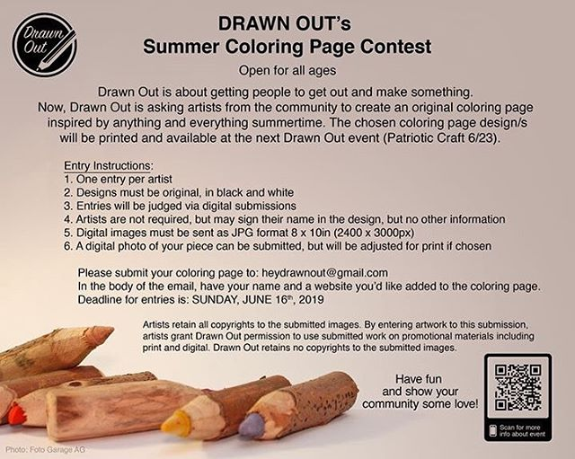 What makes you think of summer? That's the theme. Contest ends JUNE 16th! Winner designs will be available at the next Drawn Out event (June 23rd). . . . #contest #coloringbook #coloringpage #designers #designcontest #wisconsinart #wisconsinartist #milwaukeeart #milwaukeeartist #callforart #coloringbookcontest