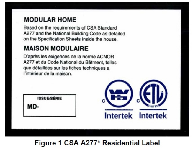 CSA A277 Certified for Modular Homes