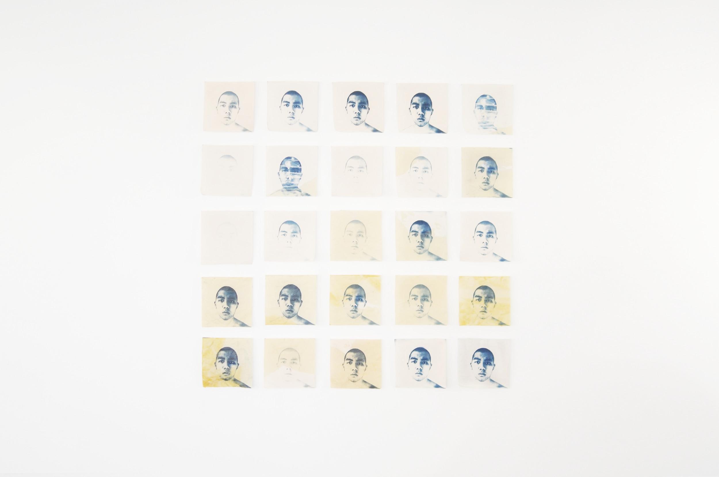 "25 Identítas ,  2017 Twenty five cyanotype, tanin stained and batik (beeswax-resist) on 8"" x 8"" cotton fabric Alexander Sebastianus H"