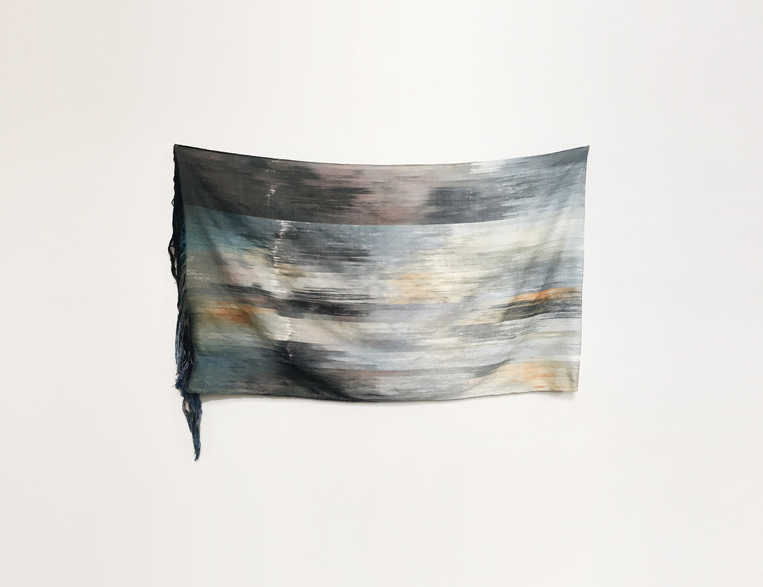 """IMG_1374 ,  2017 Woven hand dyed & Ikat cotton warp 40"""" x 74""""  Alexander Sebastianus H   Archived at the Kin
