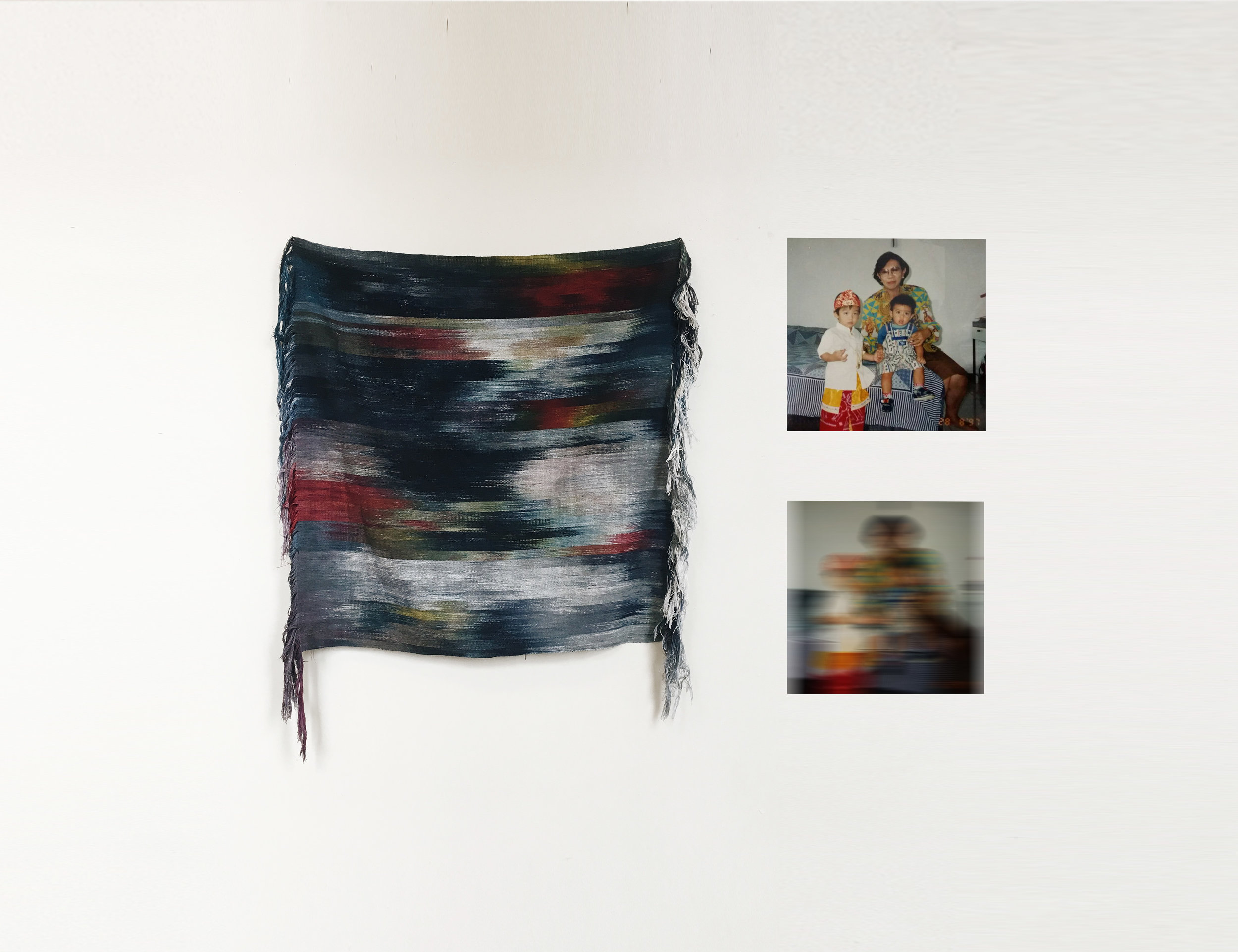 """IMG_1377 ,  2017 Woven hand dyed & Ikat cotton warp 40"""" x 40""""  Alexander Sebastianus H   Archived at the Kin