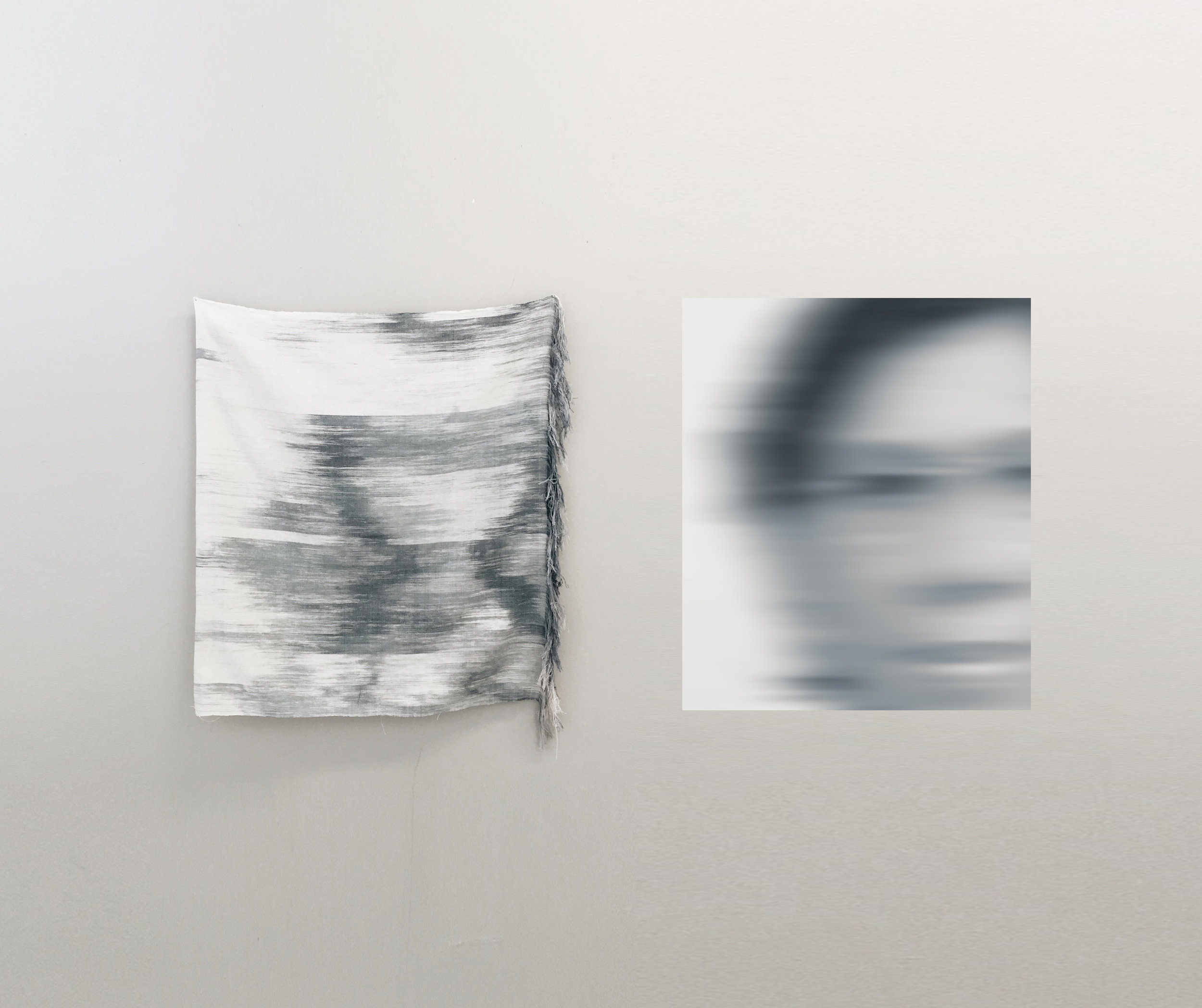 """IMG_1378_2 ,  2017 Woven hand dyed & Ikat cotton warp 40"""" x 32""""  Alexander Sebastianus H   Archived at the Kin