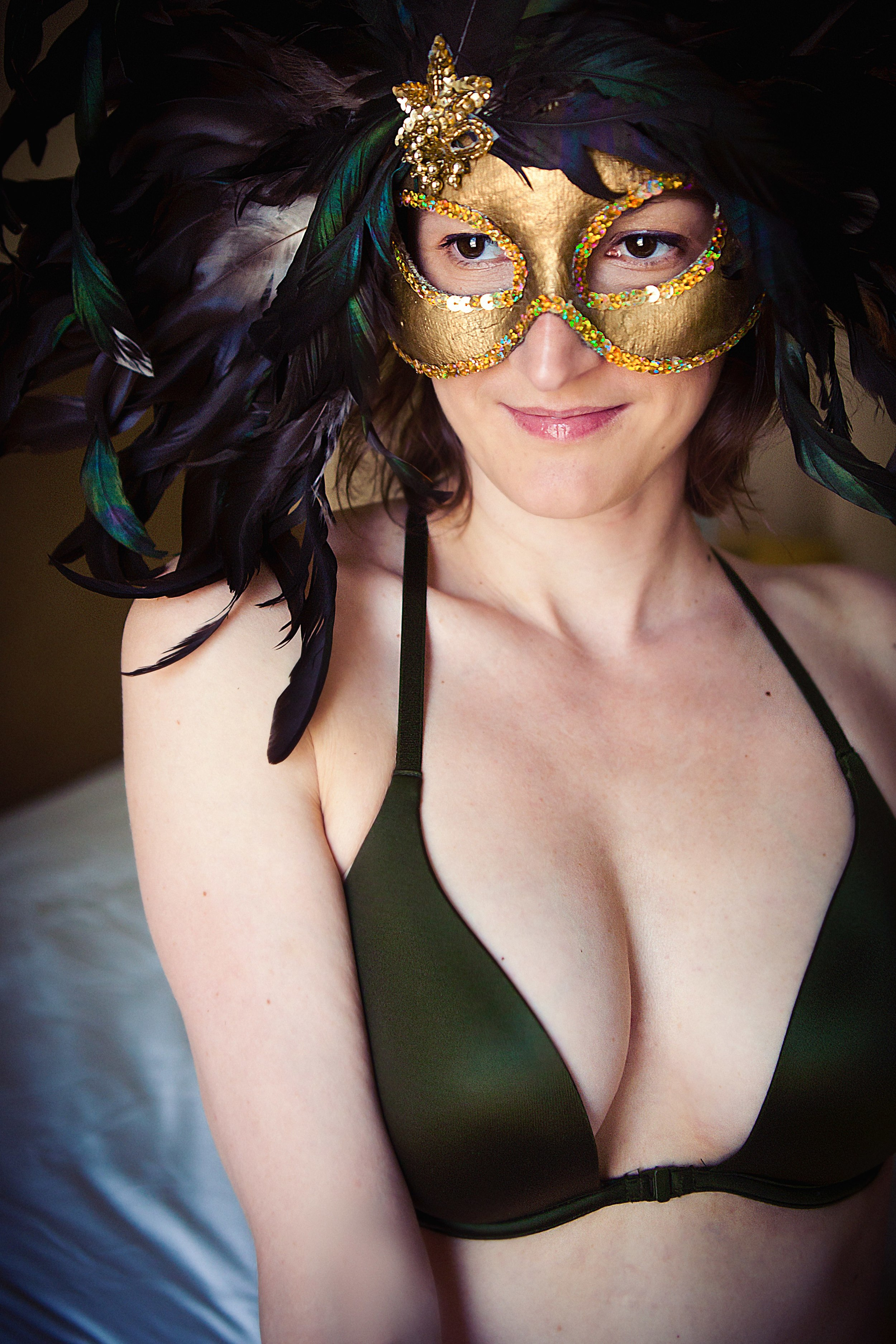 Laura in the Mardi Gras mask she was wearing the night she & her now-husband met.