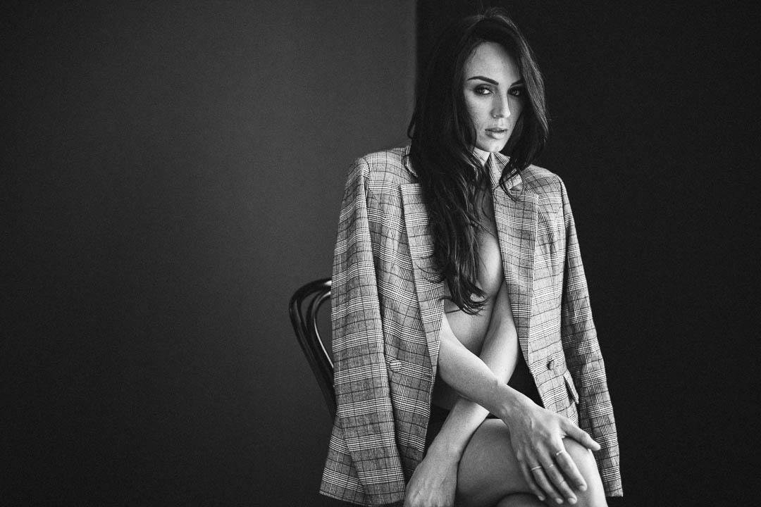 Beautiful-woman-in-plaid-jacket-brooklyn-boudoir
