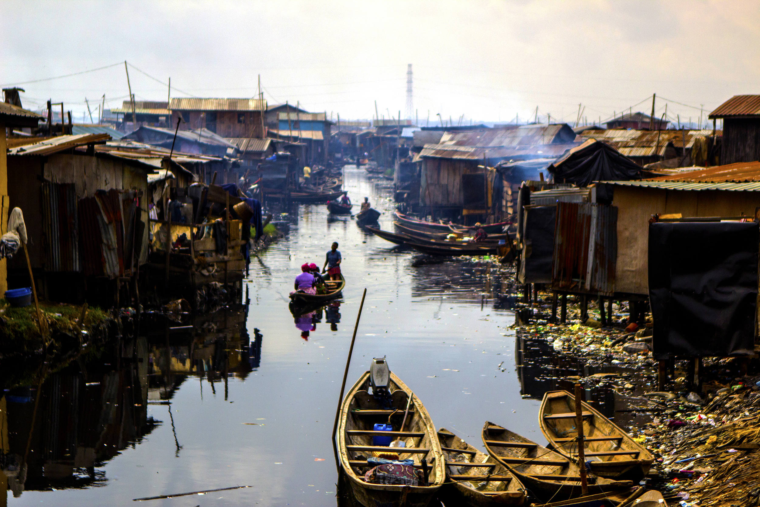 Lagos, Nigeria. Feb. 26, 2015. The floating slum of Makoko is a low-income coastal community in Lagos. The vast majority of its residents are fishermen who often struggle with unemployment.
