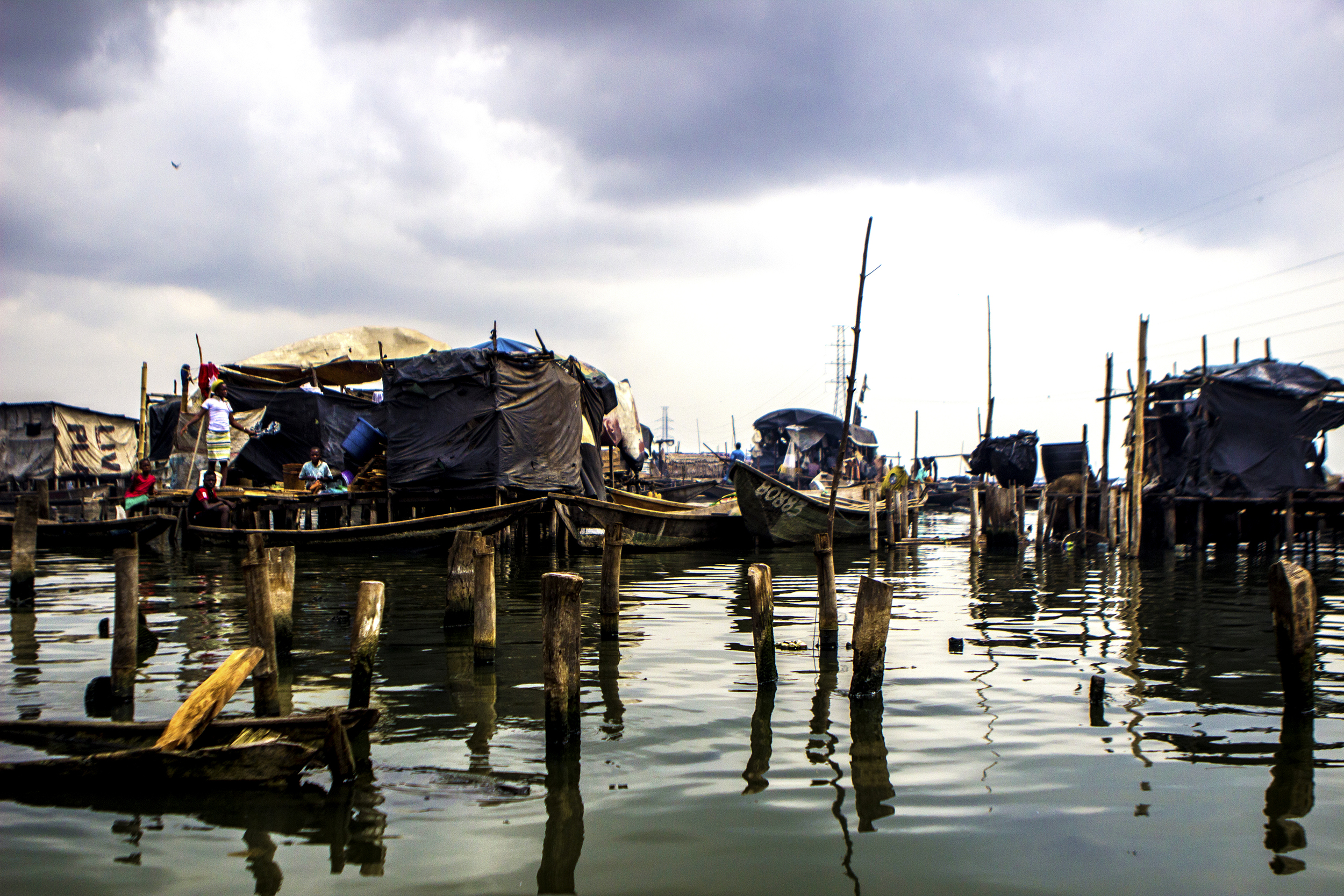 Lagos, Nigeria. Feb. 26, 2015. Many houses in the floating village of Makoko are surrounded by water. Locals use canoes to get around.