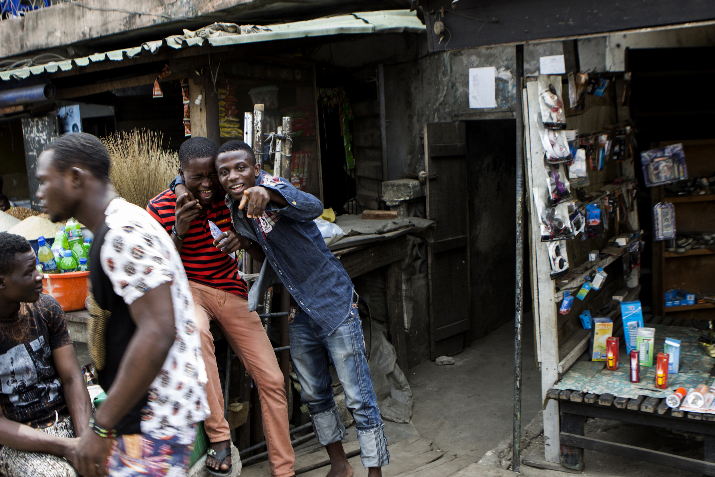 Two teenagers pose for a photo in Lagos, Nigeria on Feb 24,2015.