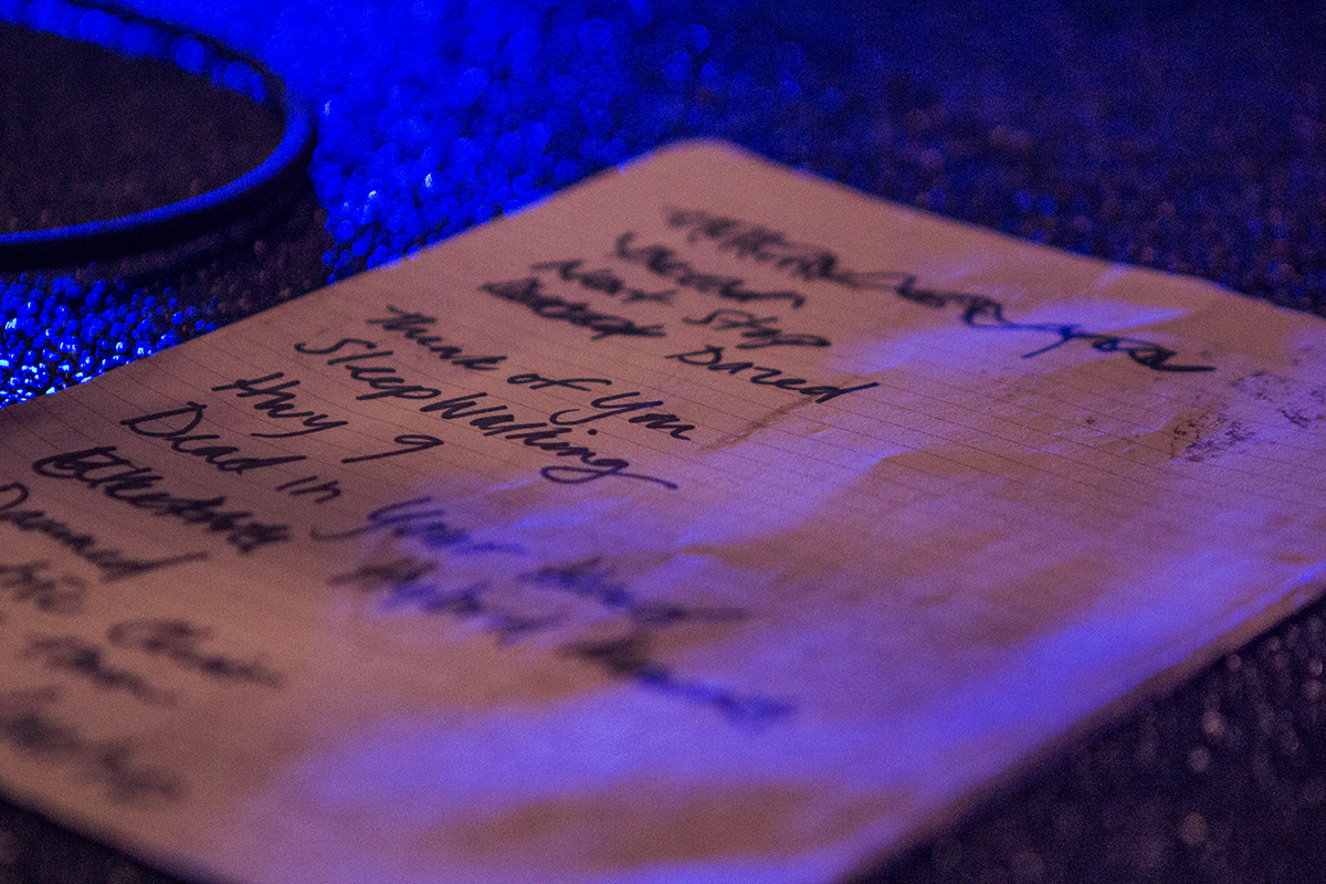 A set list on stage at the House of Vans in Greenpoint, Brooklyn on on May 9, 2015. Shot for the  Village Voice.