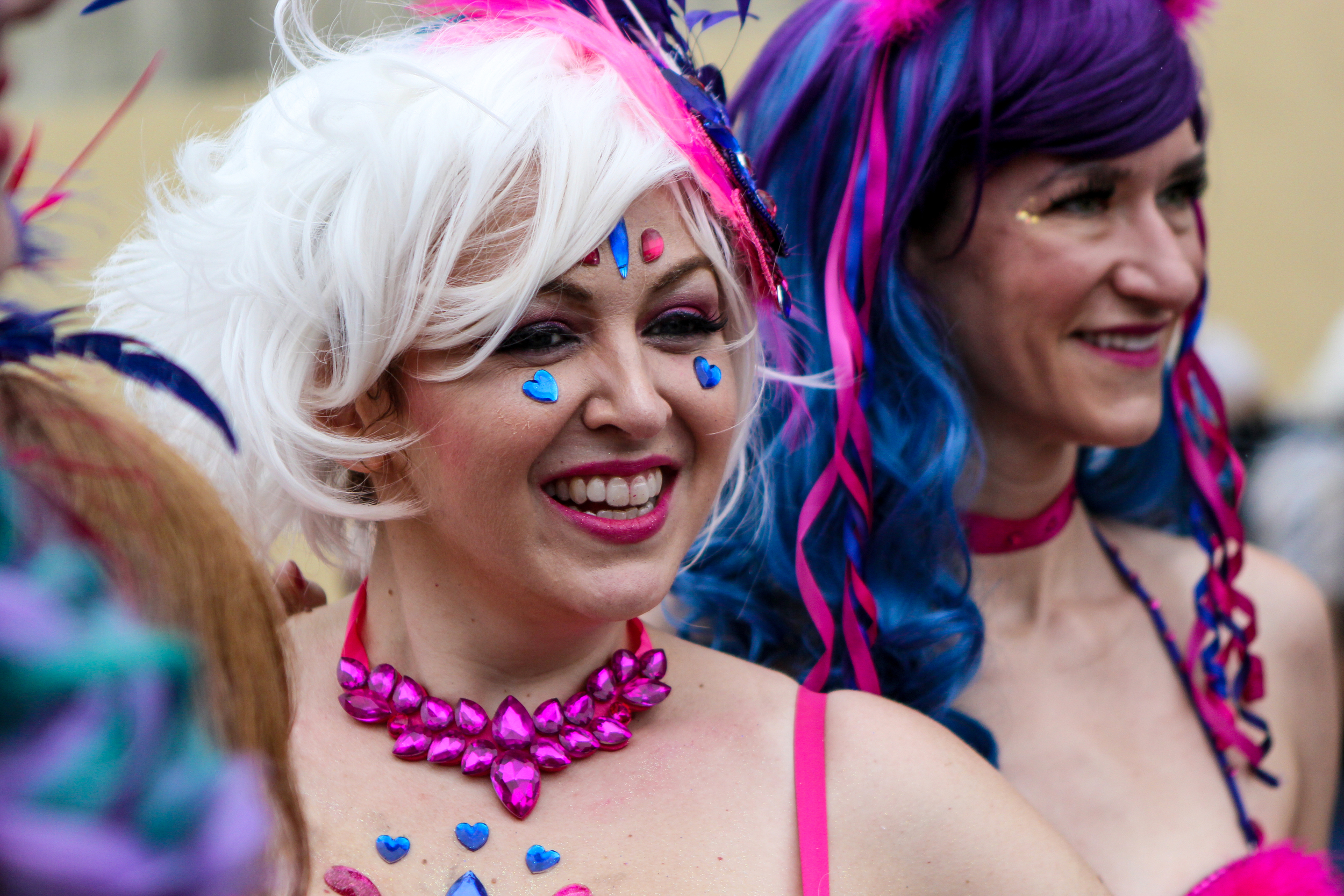 Costumed revelers take part in the annual Mermaid Parade in Coney Island, New York on June 20, 2015.    Shot for the Village Voice.