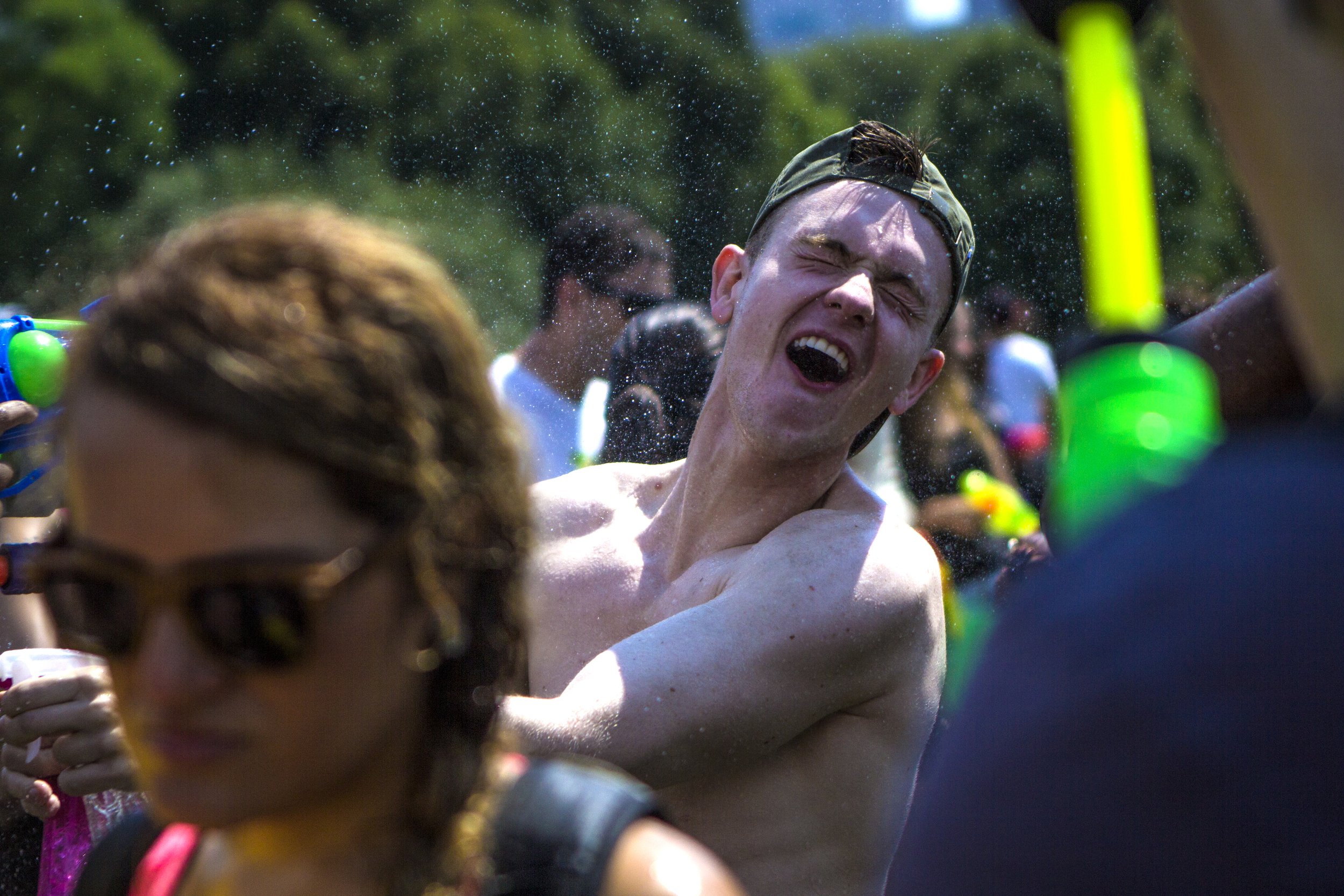 Thousands of people gathered in Central Park for a massive water fight on July 25, 2015.  Shot for the Village Voice.