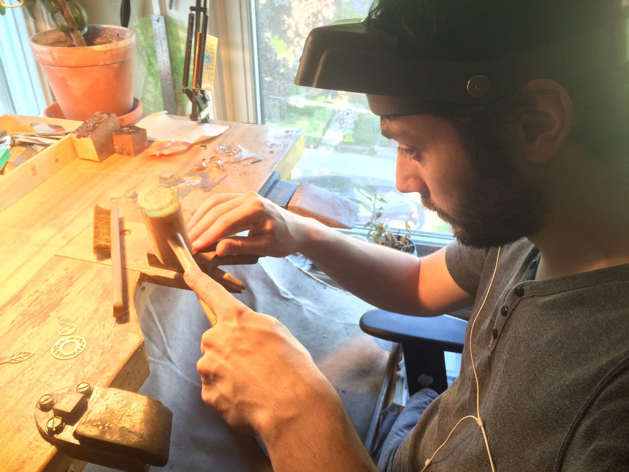 Hard at work on the bench.