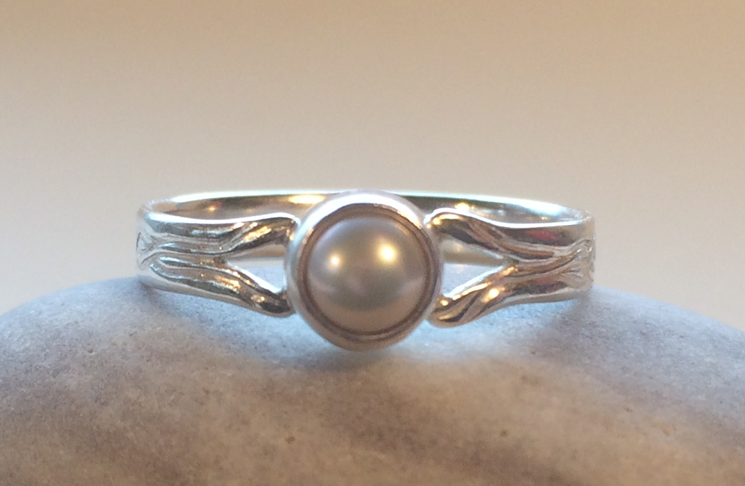 Engraved Pearl Ring