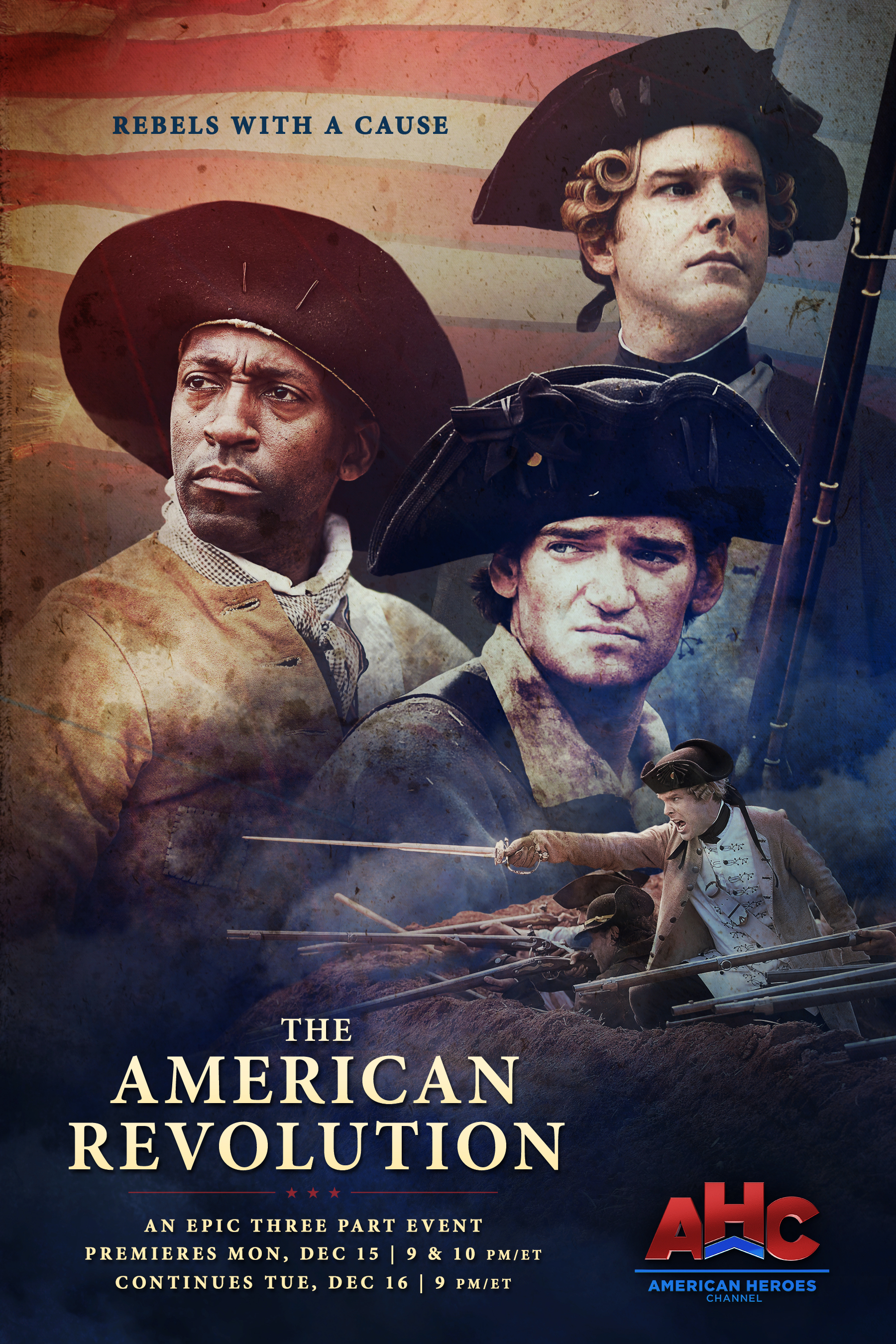 New released poster for  The American Revolution  mini series on American Heroes Channel.