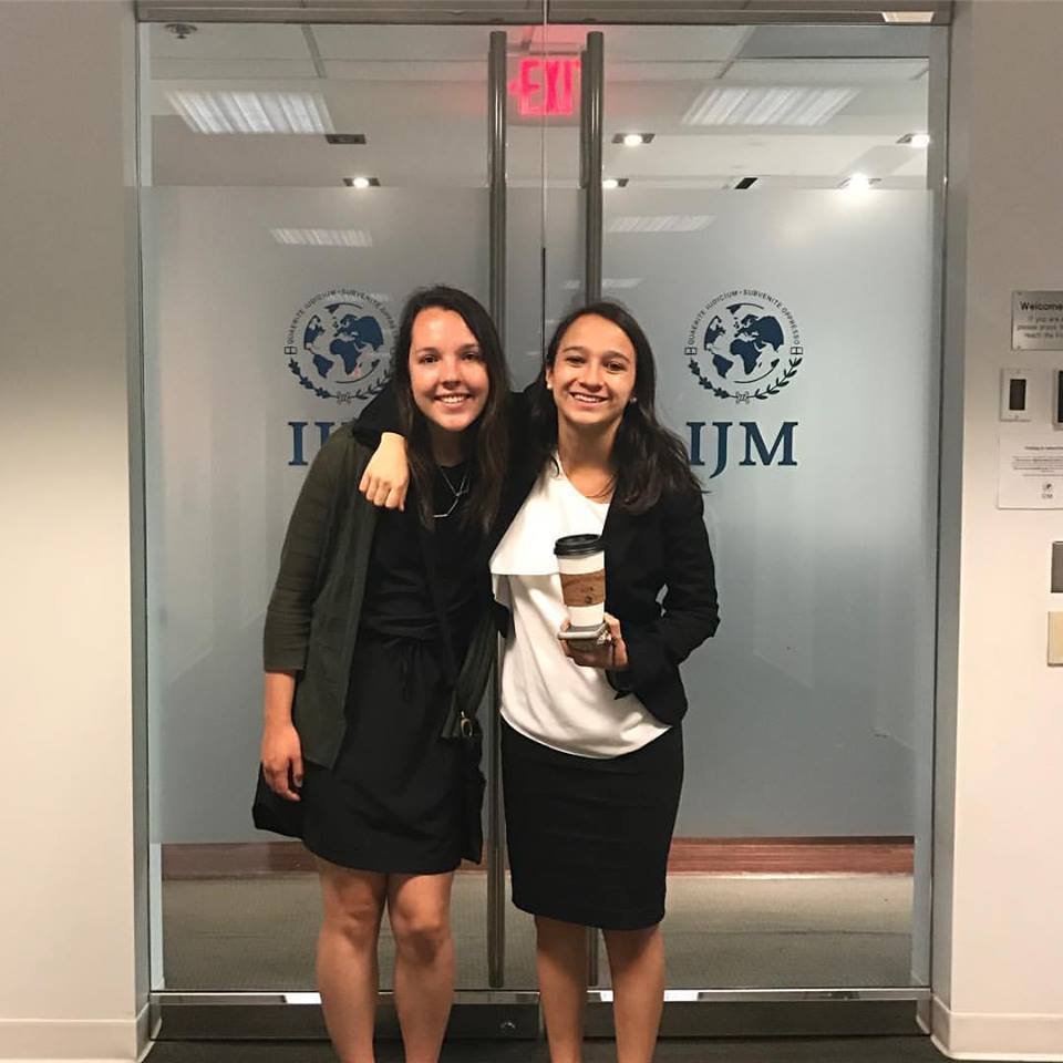 Dressember Editorial Intern, Reagan and Regional VP of IJM's NSLT, Jordie, at the IJM Offices in Washington, DC.