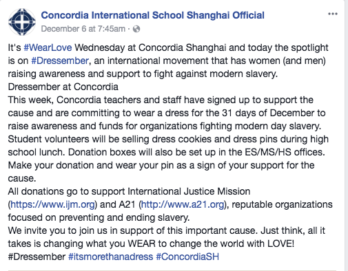 Concordia Shanghai recognized Dressember as part of #WearLove Wednesday on their facebook page on the day that they received a $6000 donation.