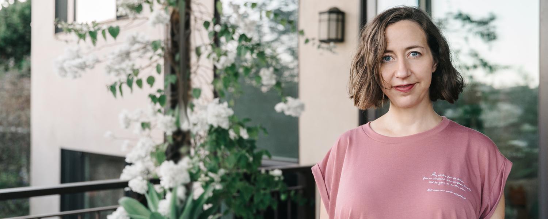"Actress Kristen Schaal sporting the  ""Pain Be Taken""  Tank"
