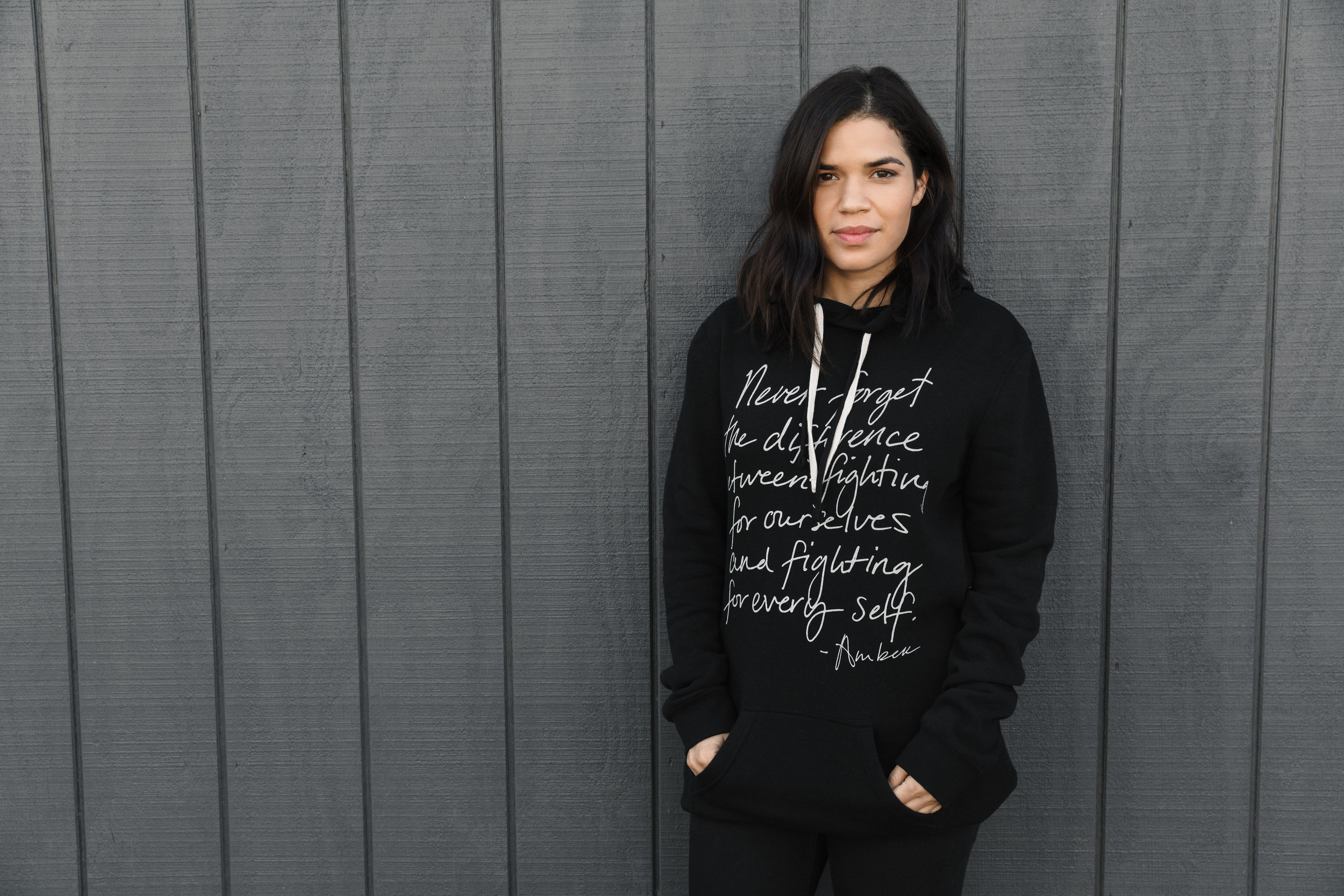 """America Ferrera wearing the  """"Fight for Every Self""""  Tunic Hoodie"""