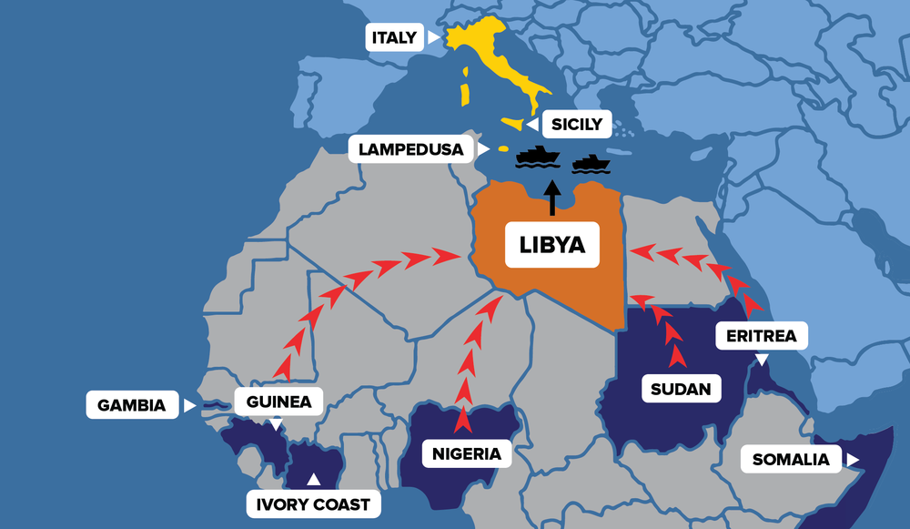 The map, provided by Refugees International, shows the migration path of refugees that travel through Libya on their way to Europe.