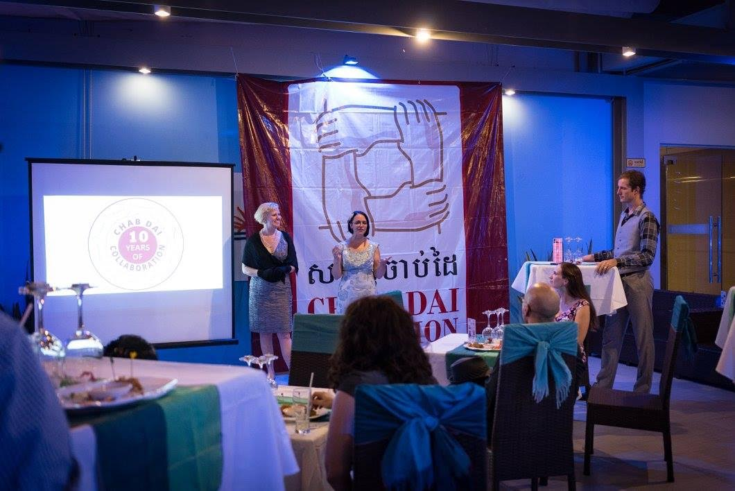 Julia speaks at a Chab Dai Fundraiser
