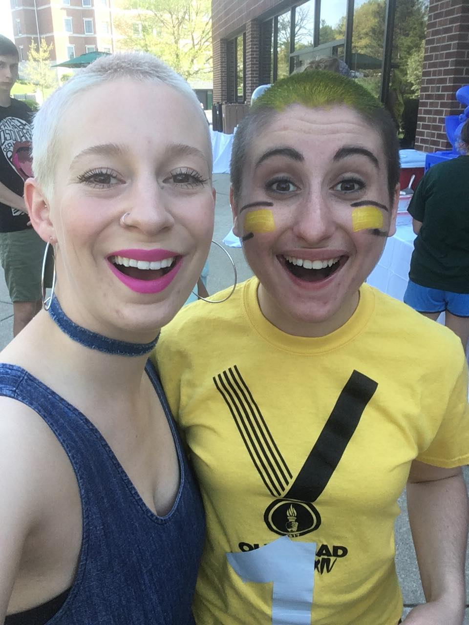 Hannah's friend and fellow HU student, Kelsey Anderson, shaved her head in May 2017 to support Hanna and her efforts to fight back against modern-day slavery.