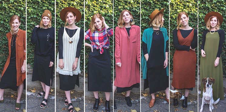 Founder Blythe Hill  took on this challenge in the 2017 Dressember campaign, and showed us what a difference accessories and sweaters could make in transforming your look from one day to the next.