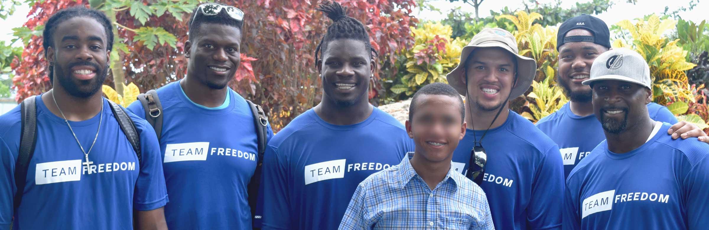 In 2017, six NFL players traveled to Santo Domingo with IJM's Team Freedom initiative.